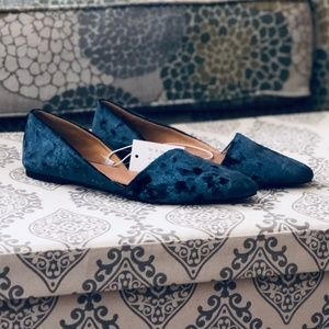 NWT A New Day   Blue Crushed Velvet D'Orsay Flats